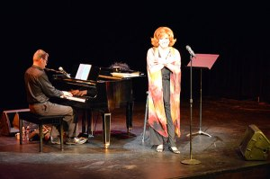 Charles Busch and his musical director Tom Judson on stage at the 2015 Theater J Annual Benefit